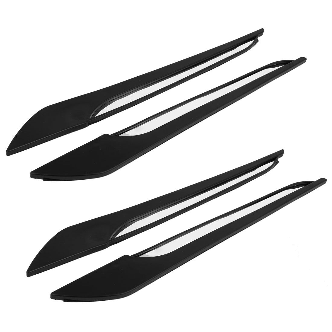 4 Pcs 44cm Long Silver Tone Black Rubber Car Front Rear Door Edge Bumper Guard Protector