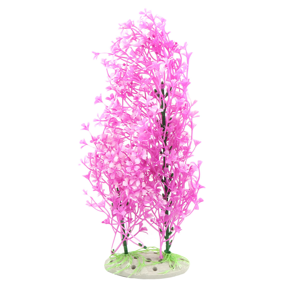 "11"" Height Fuchsia White Aquarium Aquascaping Ceramic Base Simulation Artificial Plastic Decorative Aquatic Plant"