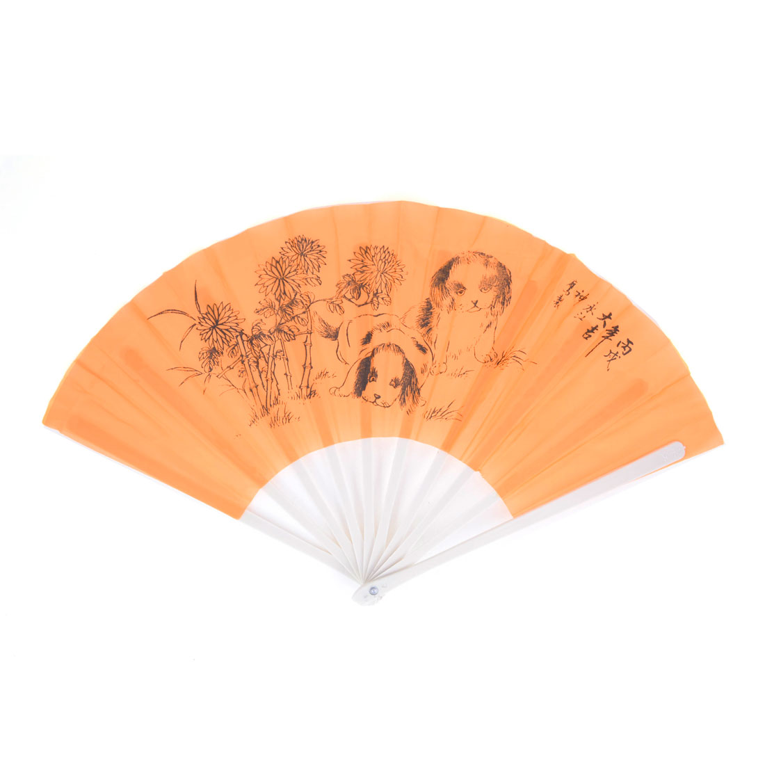 "Ladies White Plastic Ribs Folding Frame Branch Bamboo Dogs Printed 10.4"" Long Nylon Fabric Foldable Hand Fan Orange"