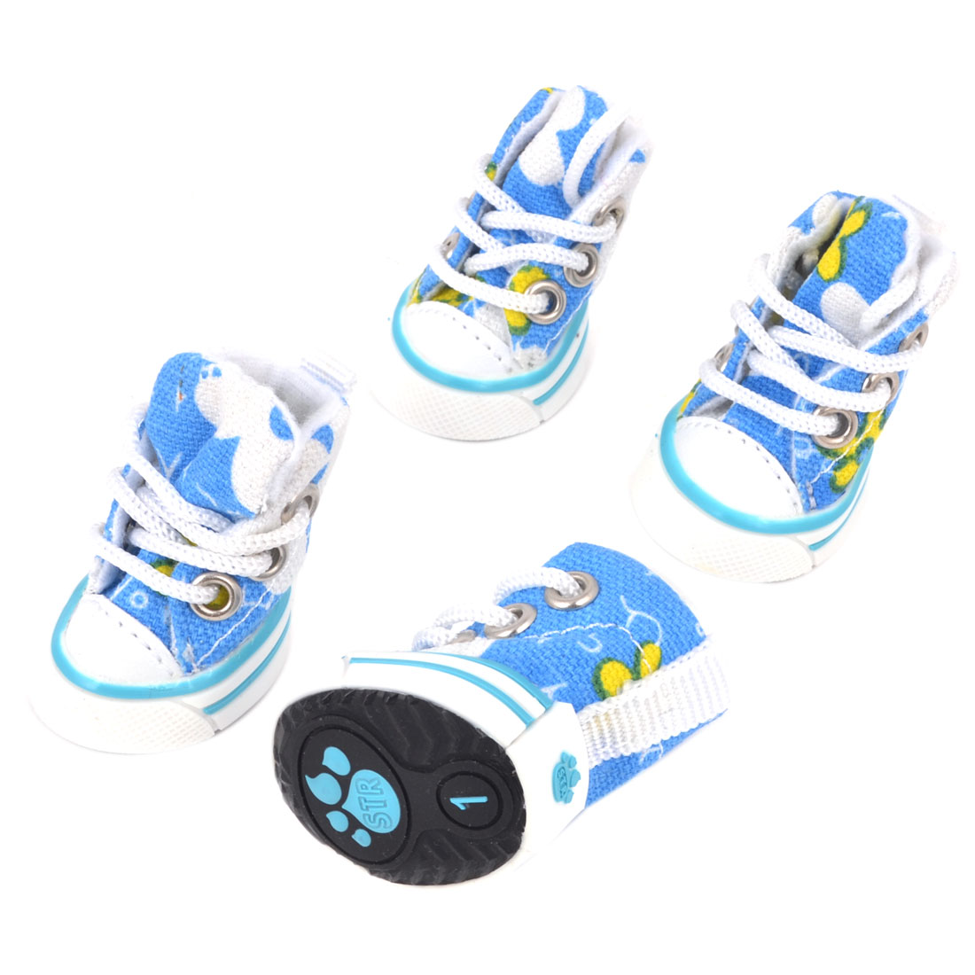 "2 Pairs Black Rubber Sole White Shoe String Blue 1.6"" High Canvas Pet Doggie Shoes Sneakers Size 1 XS"