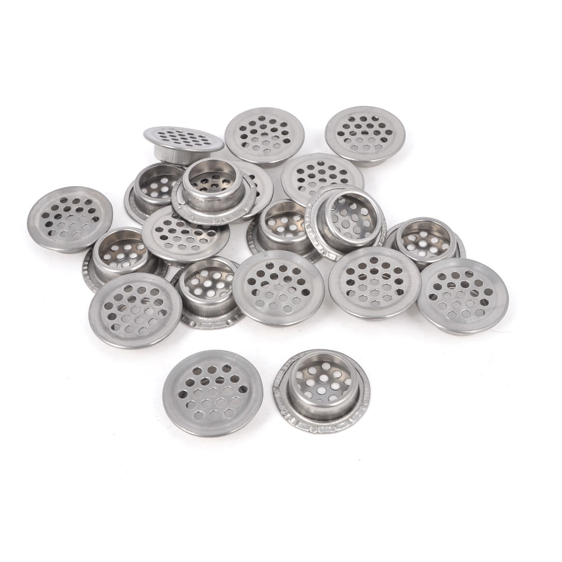 Cabinet 28mm Round Shaped Stainless Steel Perforated Air Vent Hole Ventilation Louver 20 Pcs