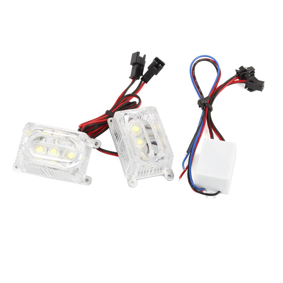 2 Pcs Universal White 3 LED Cuboid Shape Decor Light Brake Lamp for Motorcycle