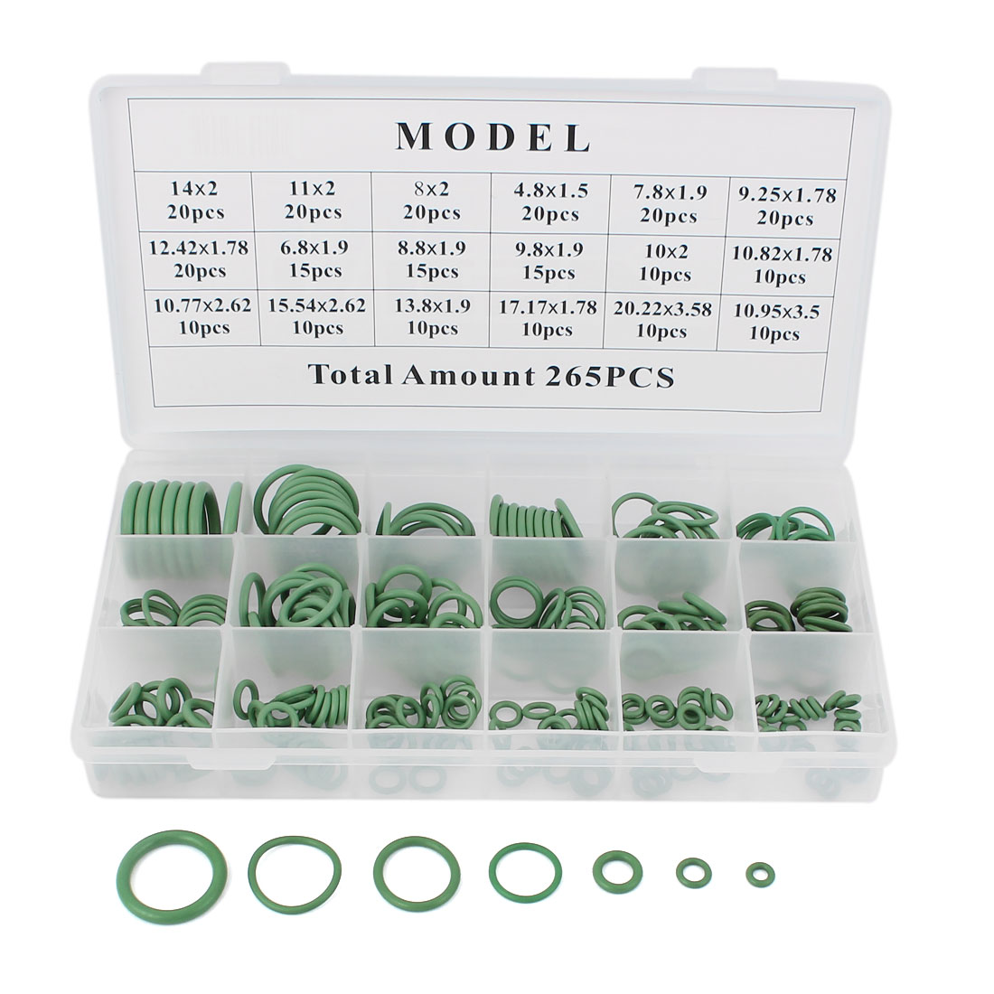 265 Pcs Green Car Air Conditioning O Rings Seal Coupling 18 Sizes Assortment Kit