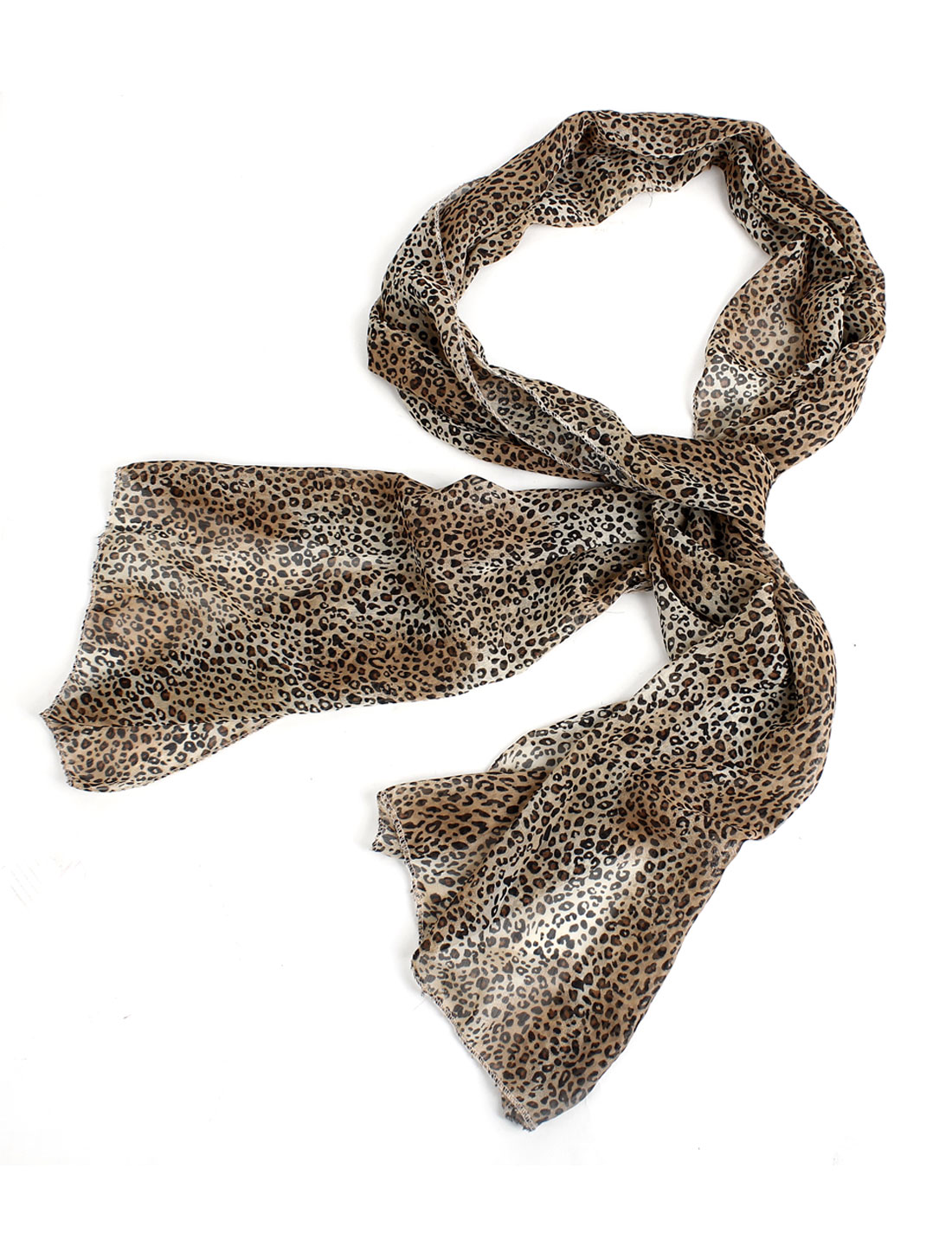 Soft Chiffon Black Brown Leopard Pattern Long Scarf Shawl