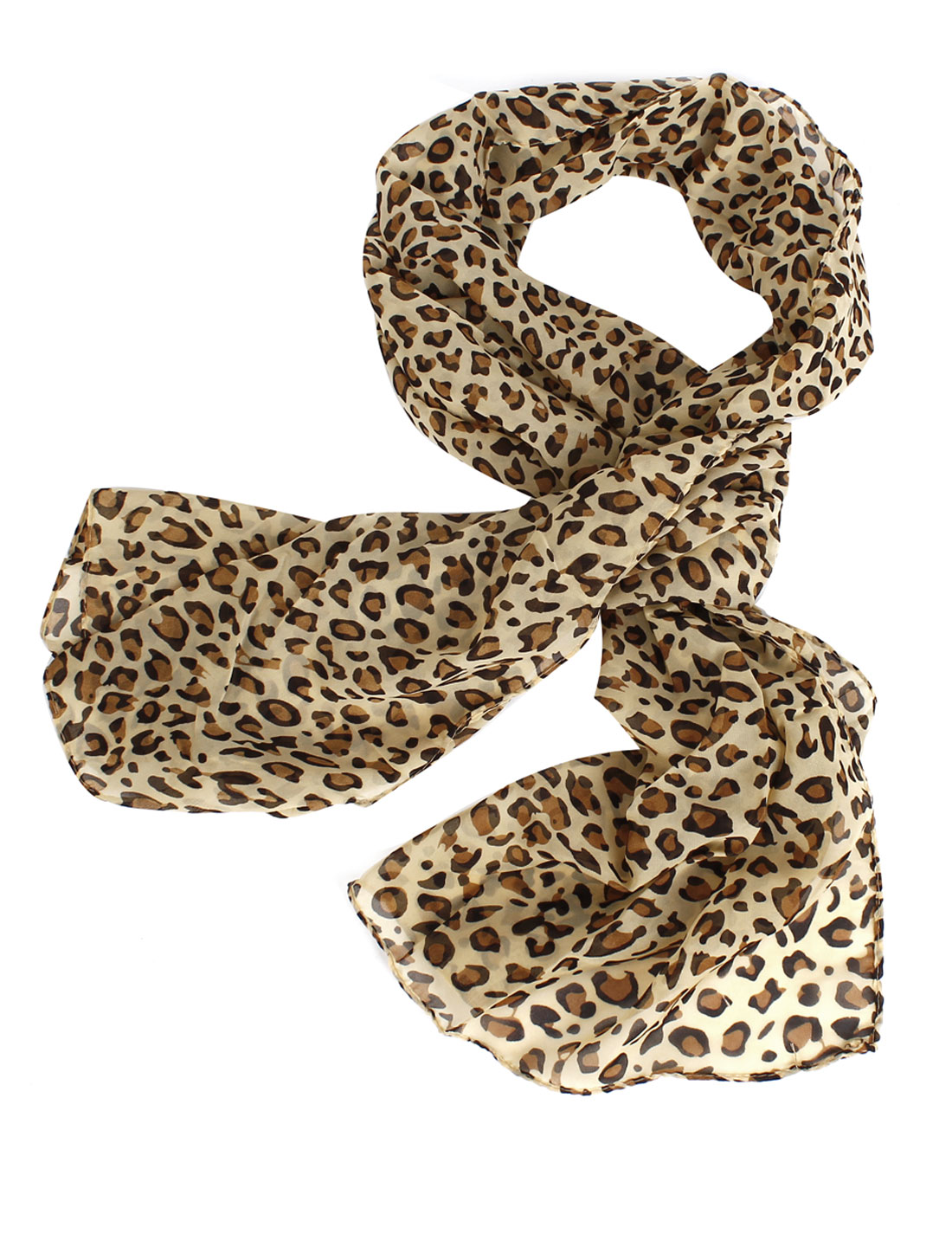 Soft Chiffon Leopard Printted Long Scarf Shawl Beige Black Brown