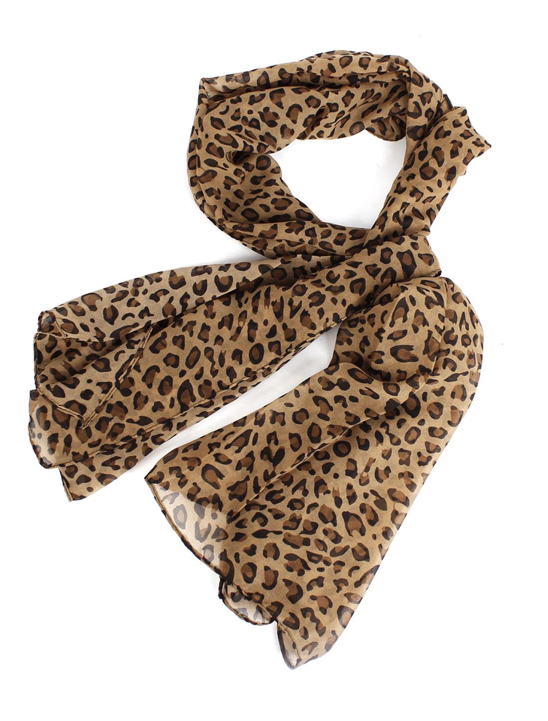 Lady Soft Chiffon Leopard Pattern Long Scarf Shawl Brown Black