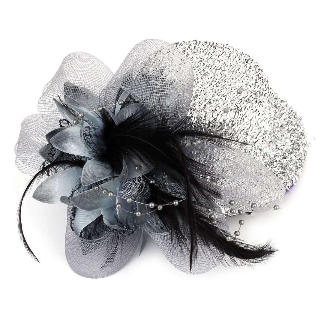 Faux Feather Decor Glittery Mini Top Hat Hair Clip Hairclip Silver Tone