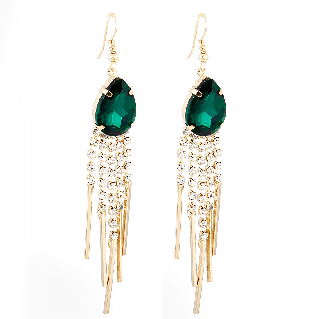 Pair Dark Green Faux Rhinestone Inlaid Dangle Hook Earrings for Ladies
