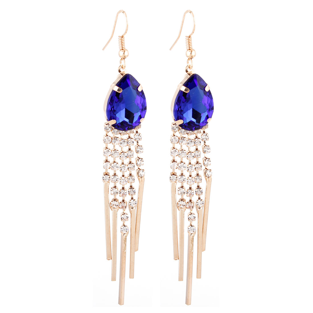 Pair Royal Blue Faux Rhinestone Accent Dangle Hook Earrings for Ladies