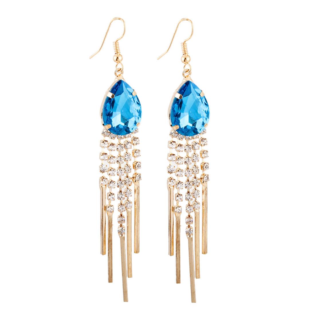 Pair Blue Faux Rhinestone Detail Dangle Hook Earrings for Lady