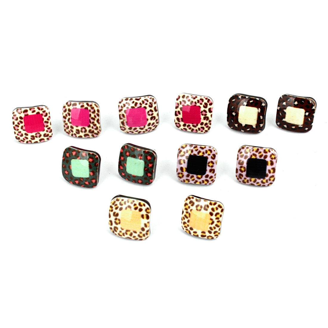 Colorful Leopard Pattern Square Earstuds Studs Earrings 6 Pairs