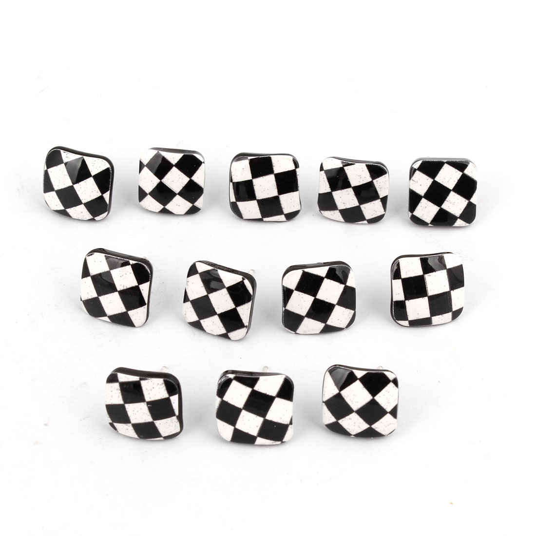 Ear Decor Square Shaped Plaids Pattern Stud Earrings Black White 6Pairs