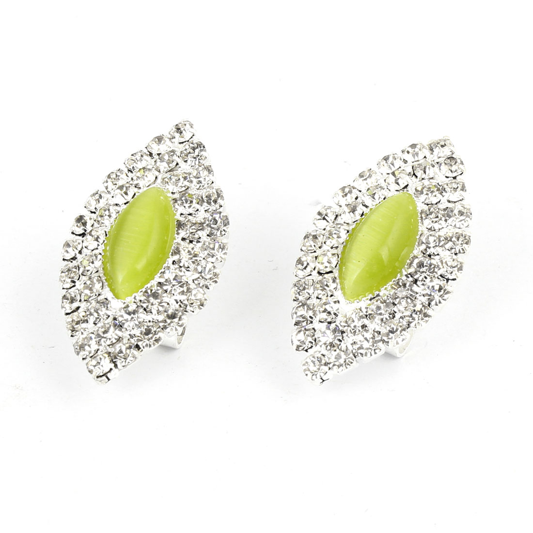 Pair Rhinestones Decor Light Green Faux Crystal French Clip Earrings for Women