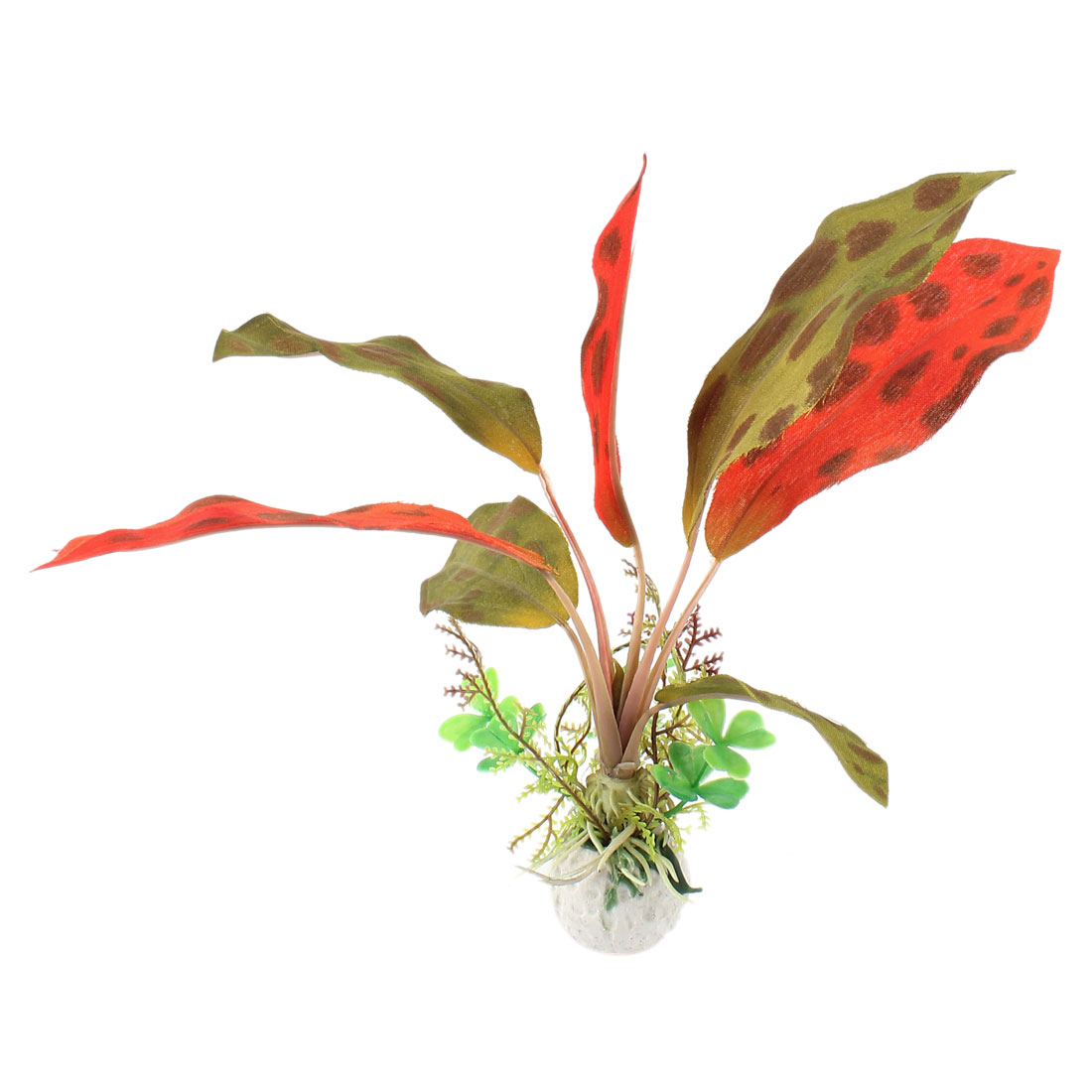 "Aquarium Landscaping Green Red Artificial Aquatic Plant 8.3"" Height"
