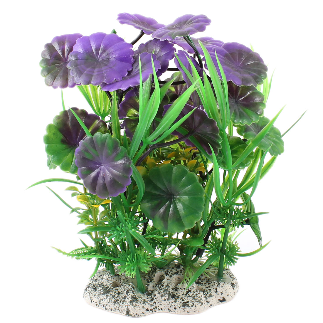 "Fish Tank Decor Man-made Simulated Water Grass Purple Green 5.9"" Height"