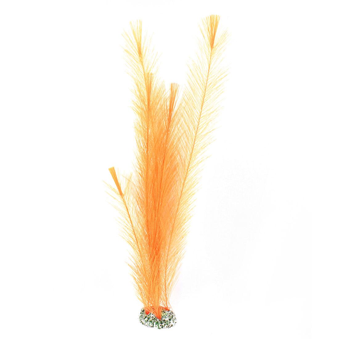 "Fish Tank Decoration Artificial Nylon Aquatic Plant Orange 13.8 "" Height"