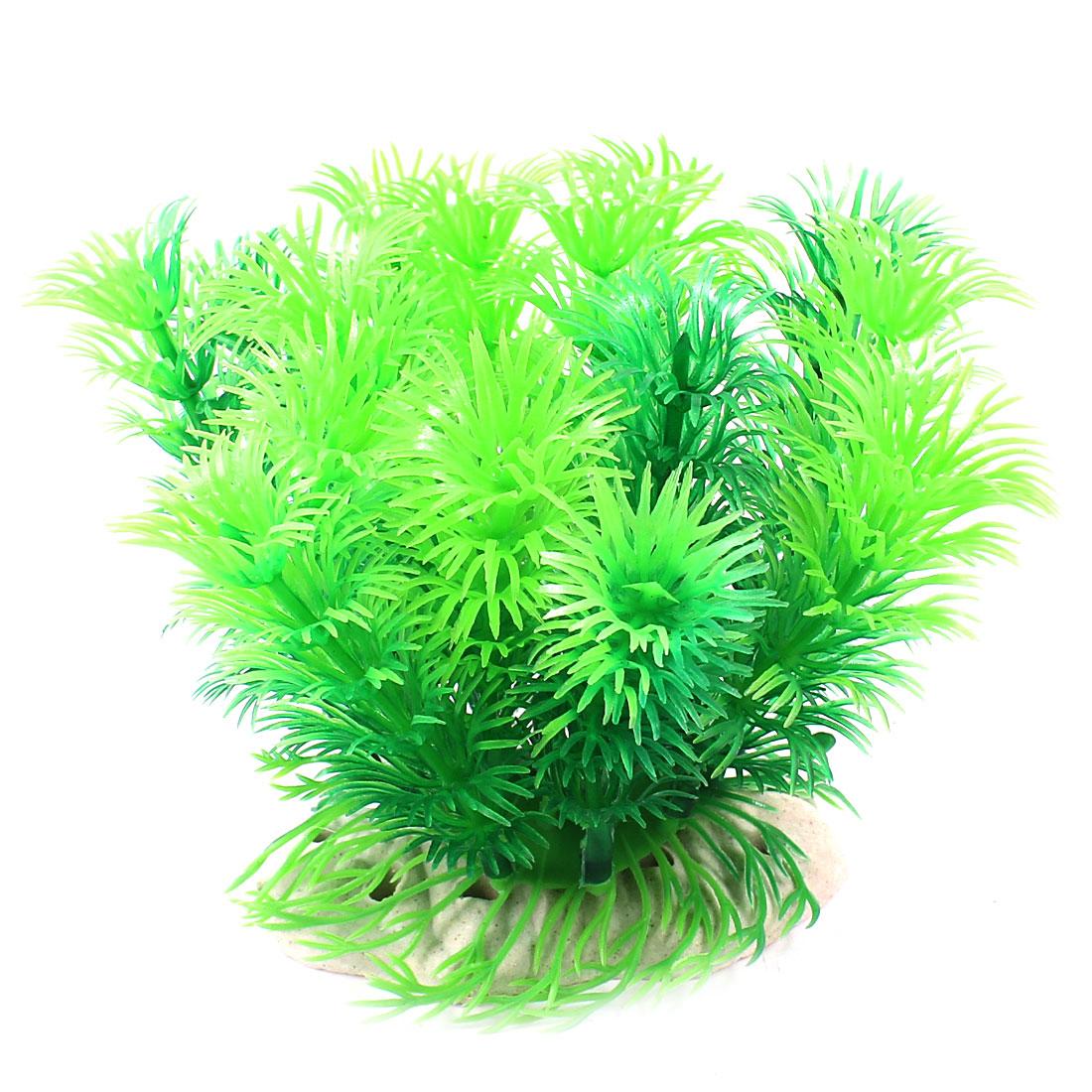 """Aquarium Landscaping Plastic Aquatic Underwater Plant Green 4.3"""" Height"""