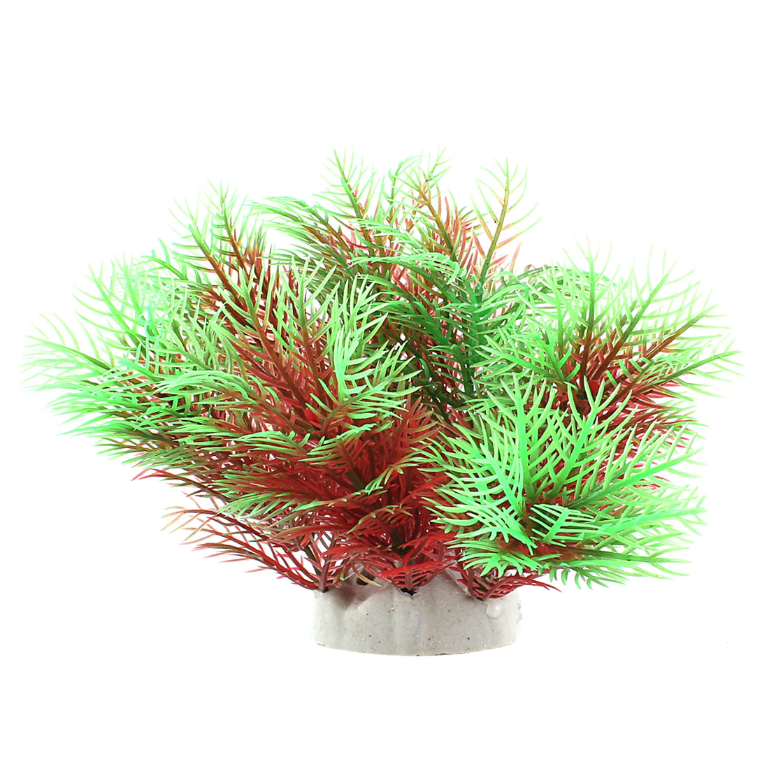 "Fish Tank Landscaping Green Red Plastic Underwater Plant 5.1"" Height"