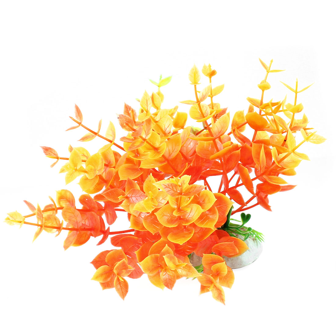 "Fish Tank Ornament Artificial Plastic Water Grass Orange 4.7"" Height"