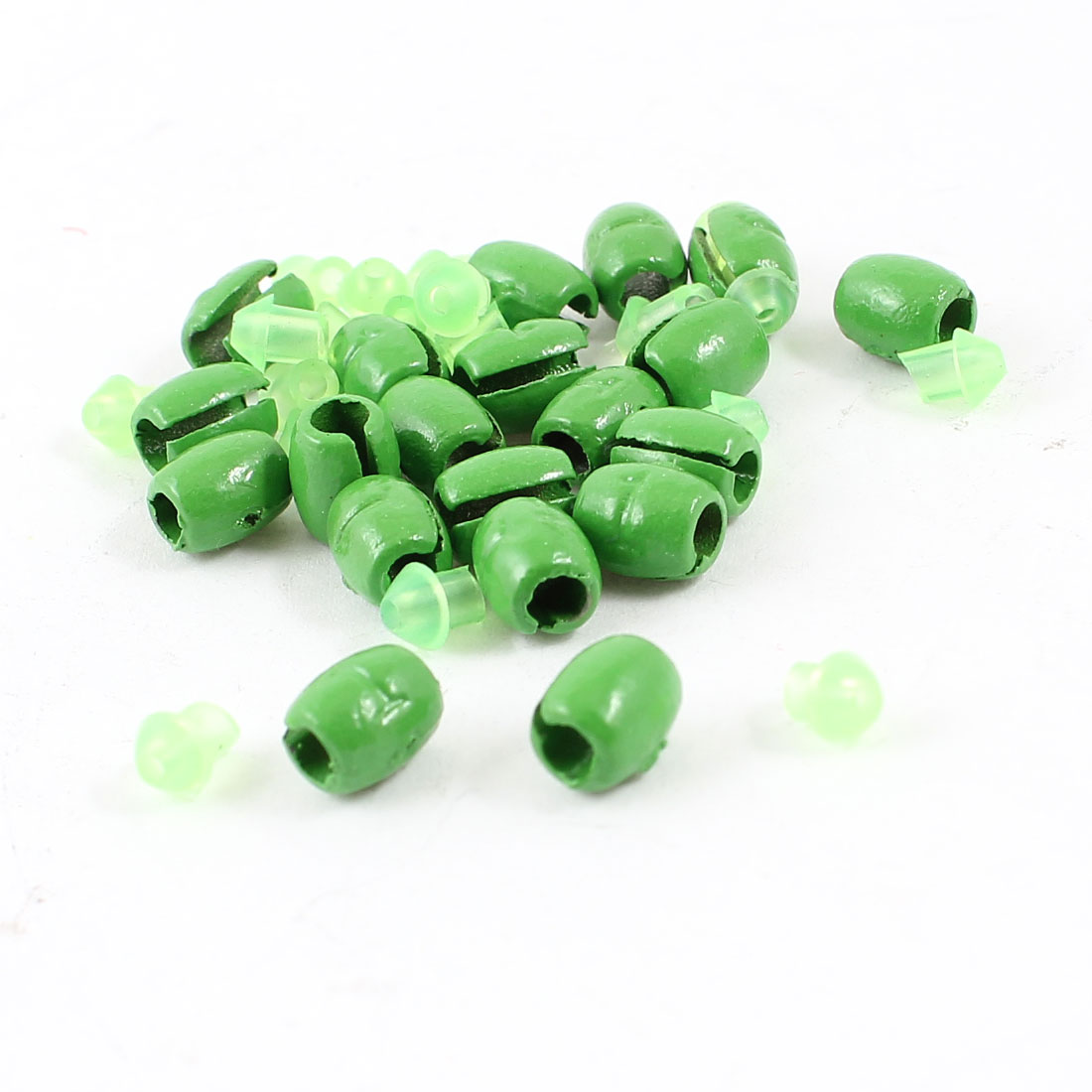 20pcs Oval Shape Lead Split Shots Fishing Line Sinkers Green 6mm x 11mm 1g Per Piece