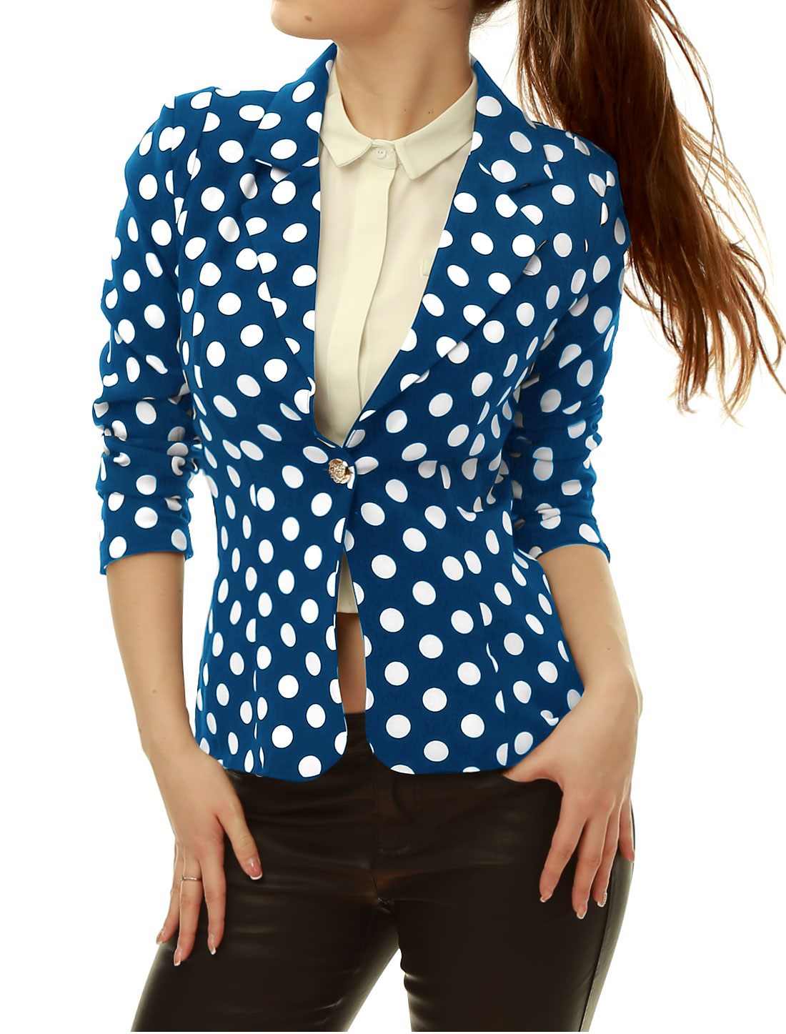 Women Notched Lapel Long Sleeves One Button Closure Dots Blazer Blue L