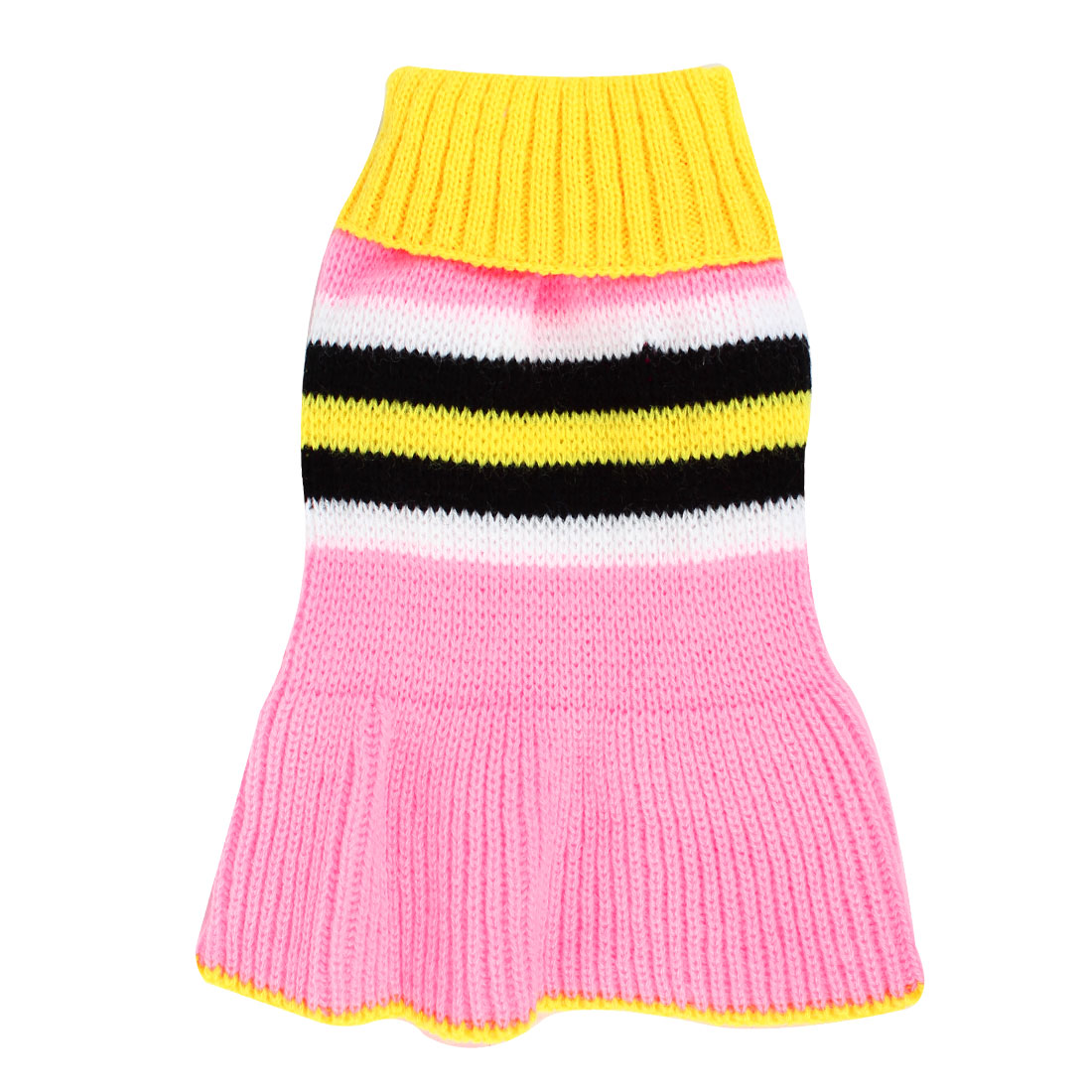 Pet Dog Chihuahua Yellow Pink Ribbed Cuff Knitwear Turtleneck Dress Apparel Sweater Size XXS