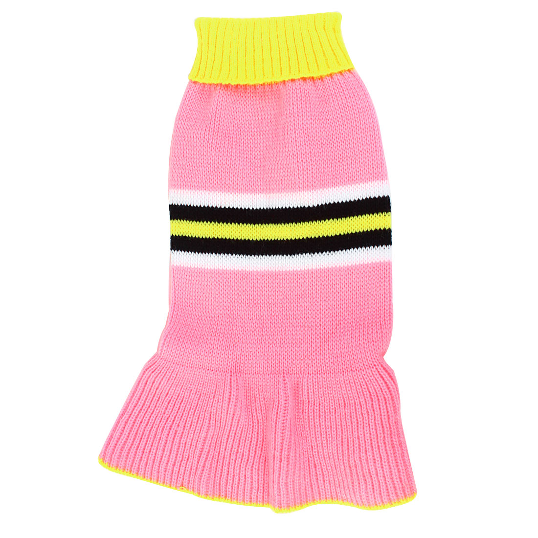 Pet Dog Poodle Yellow Pink Ribbed Cuff Knitwear Turtleneck Dress Apparel Sweater Size S