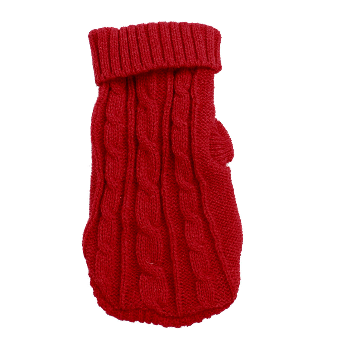 Pet Dog Yorkie Red Twisted Knit Ribbed Cuff Knitwear Apparel Sweater Size XXS