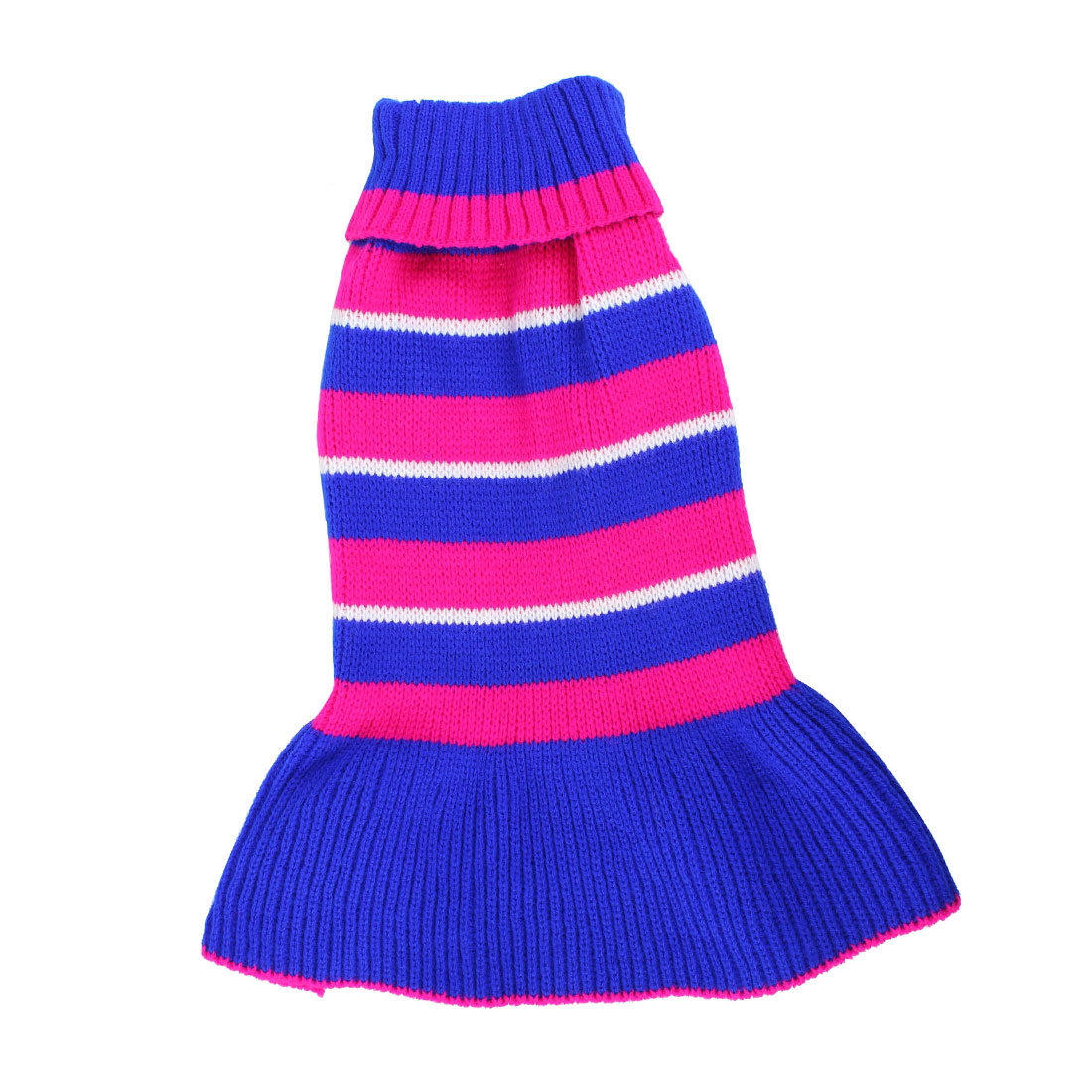 Pet Dog Yorkie Fuchsia Blue Stripe Print Ribbed Cuff Knitwear Turtleneck Dress Apparel Sweater Size S