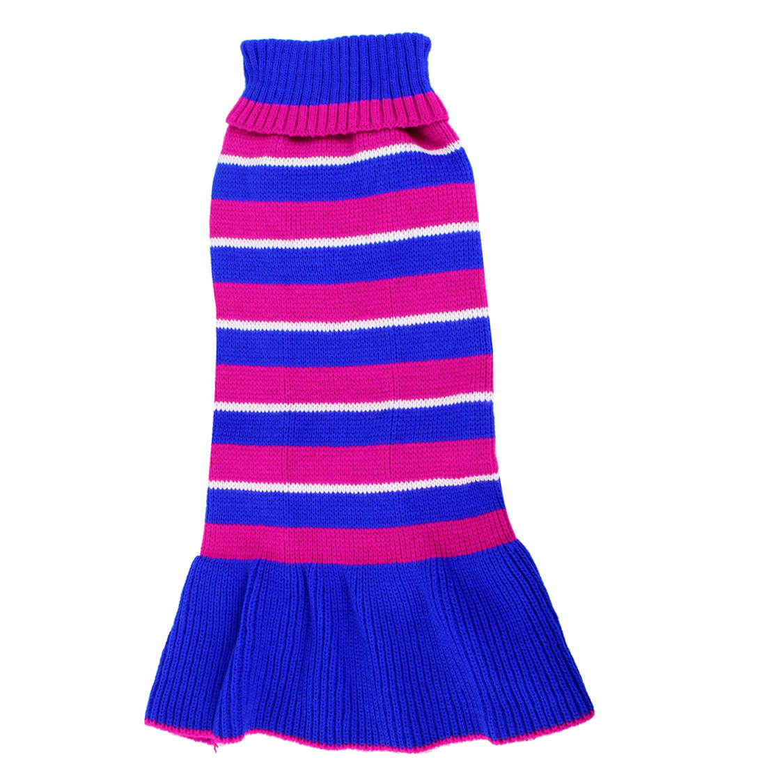 Pet Dog Yorkie Fuchsia Blue Stripe Printed Ribbed Cuff Knitwear Turtleneck Dress Apparel Sweater Size M