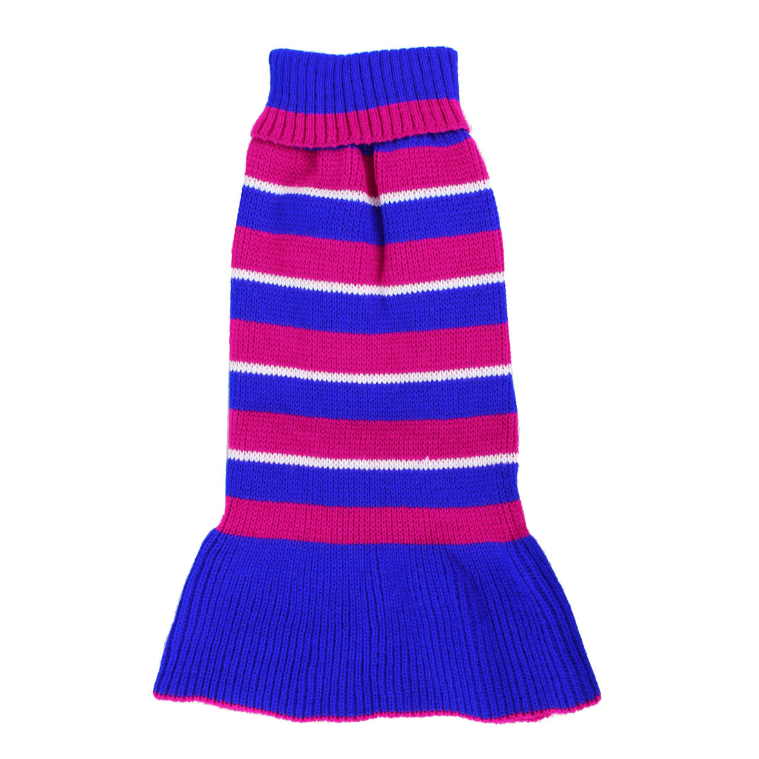 Pet Dog Poodle Fuchsia Blue Stripe Pattern Ribbed Hem Knitwear Turtleneck Dress Apparel Sweater Size M