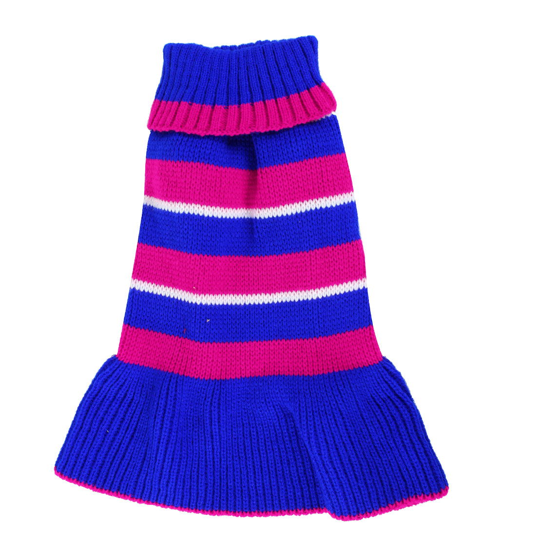 Pet Dog Maltese Fuchsia Blue Stripe Pattern Ribbed Cuff Knitwear Turtleneck Dress Apparel Sweater Size S