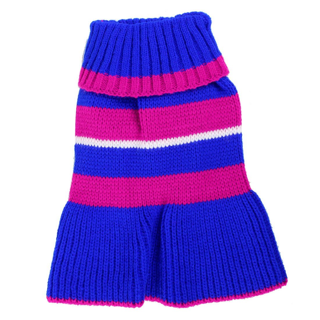 Pet Dog Poodle Fuchsia Blue Stripe Pattern Ribbed Cuff Knitwear Turtleneck Dress Apparel Sweater Size XS