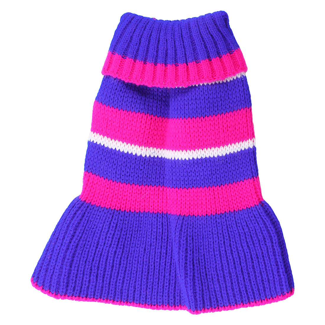 Pet Dog Yorkie Ribbed Cuff Knitwear Turtleneck Dress Apparel Sweater Fuchsia Blue Size 6