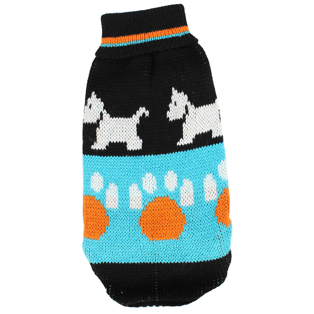Pet Puppy Poodle Black Blue Ribbed Cuff Dog Pattern Knitwear Turtleneck Apparel Sweater Size XS