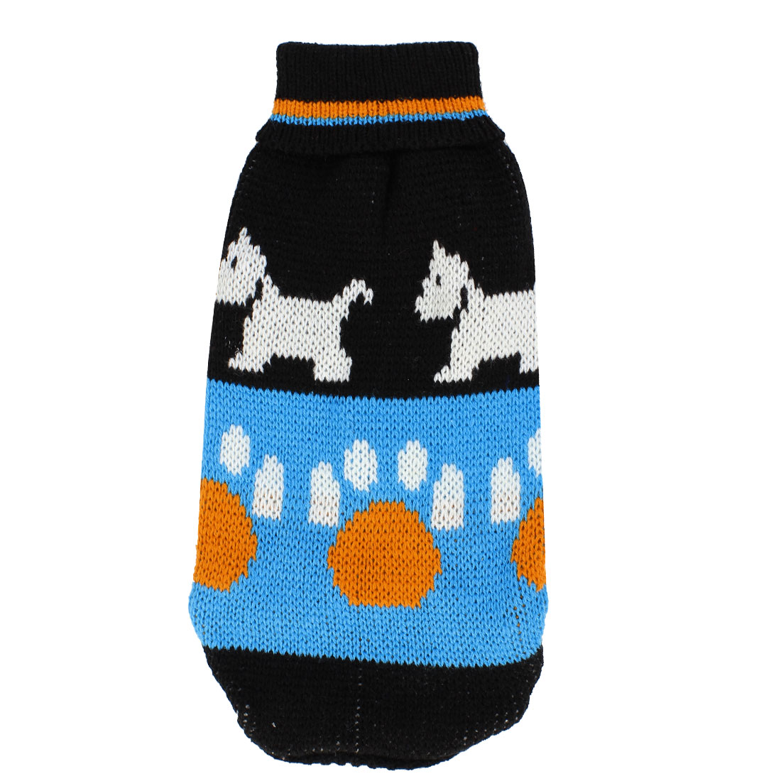 Pet Doggy Yorkie Black Blue Ribbed Cuff Dog Pattern Knitwear Turtleneck Apparel Sweater Size S