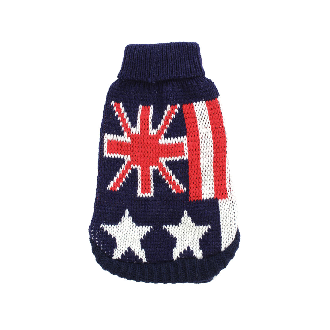 Pet Dog Doggie Flag Pattern Dark Blue Red White Ribbed Cuff Knitwear Turtleneck Apparel Sweater Size XS