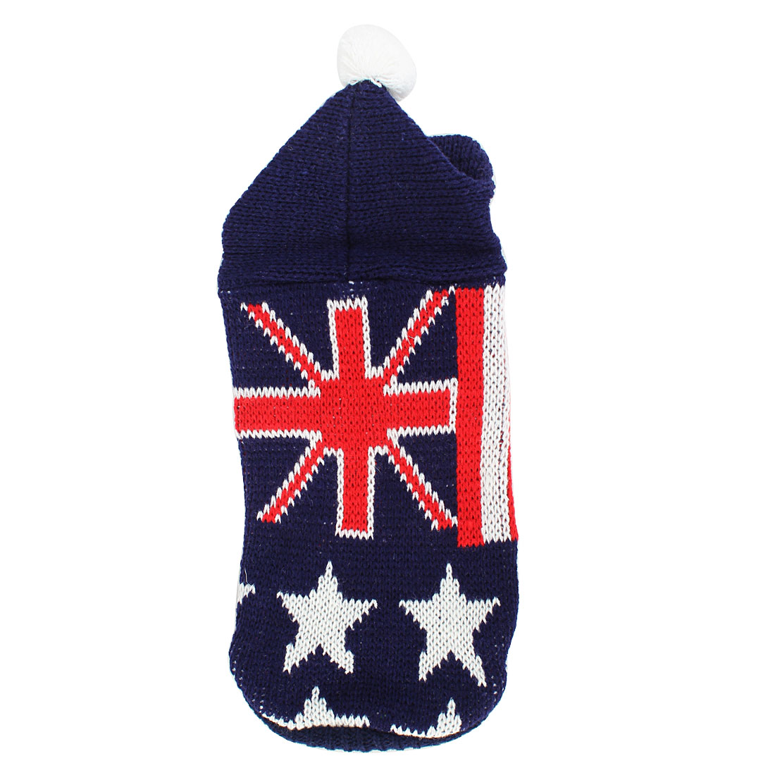 Pet Puppy Maltese Ribbed Cuff Knitwear Hoodie Flag Pattern Apparel Sweater Dark Blue Red White Size M