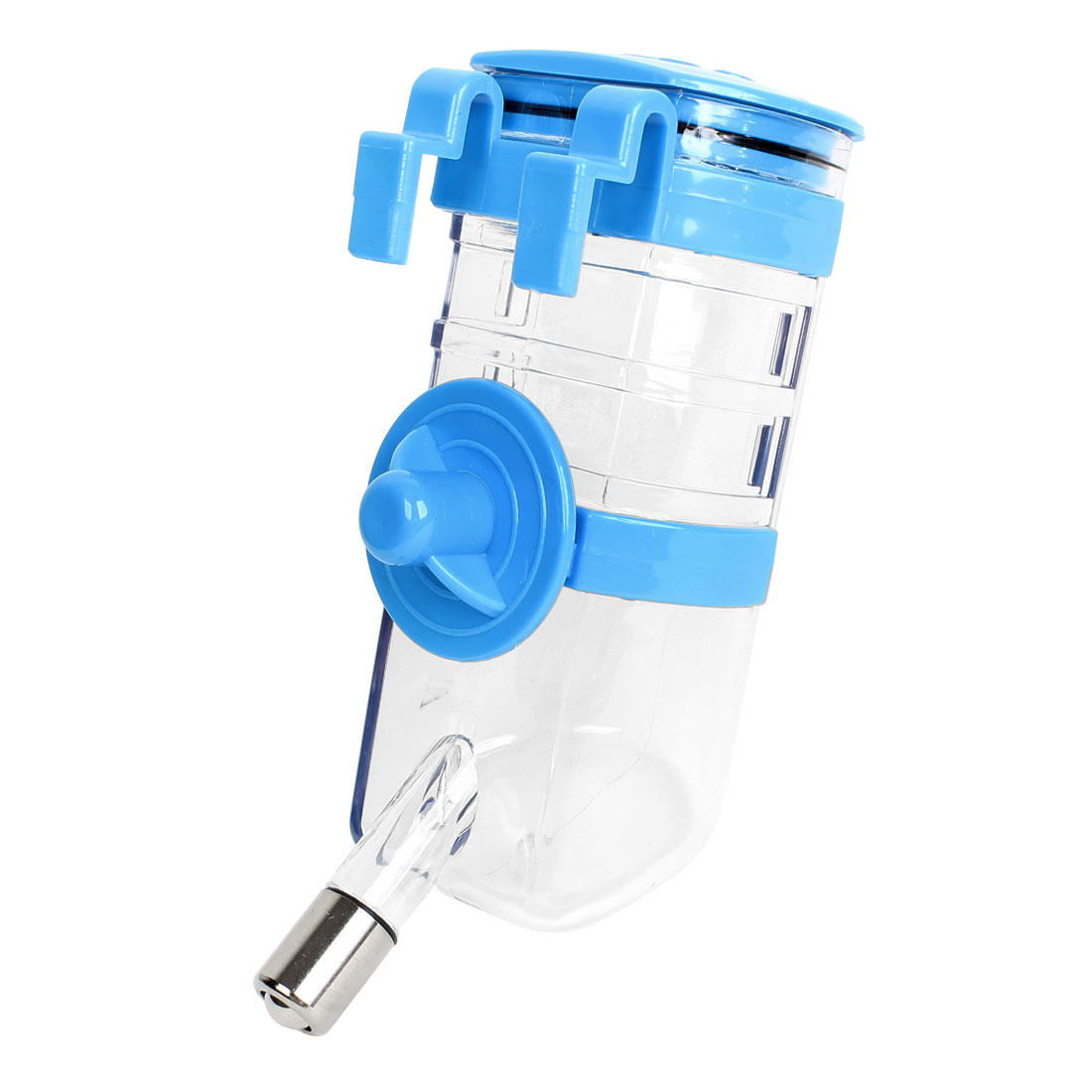 Plastic Pet Hamsters Dog Drinking Hanging Feed Water Fountain Bottle Blue Clear 350ml