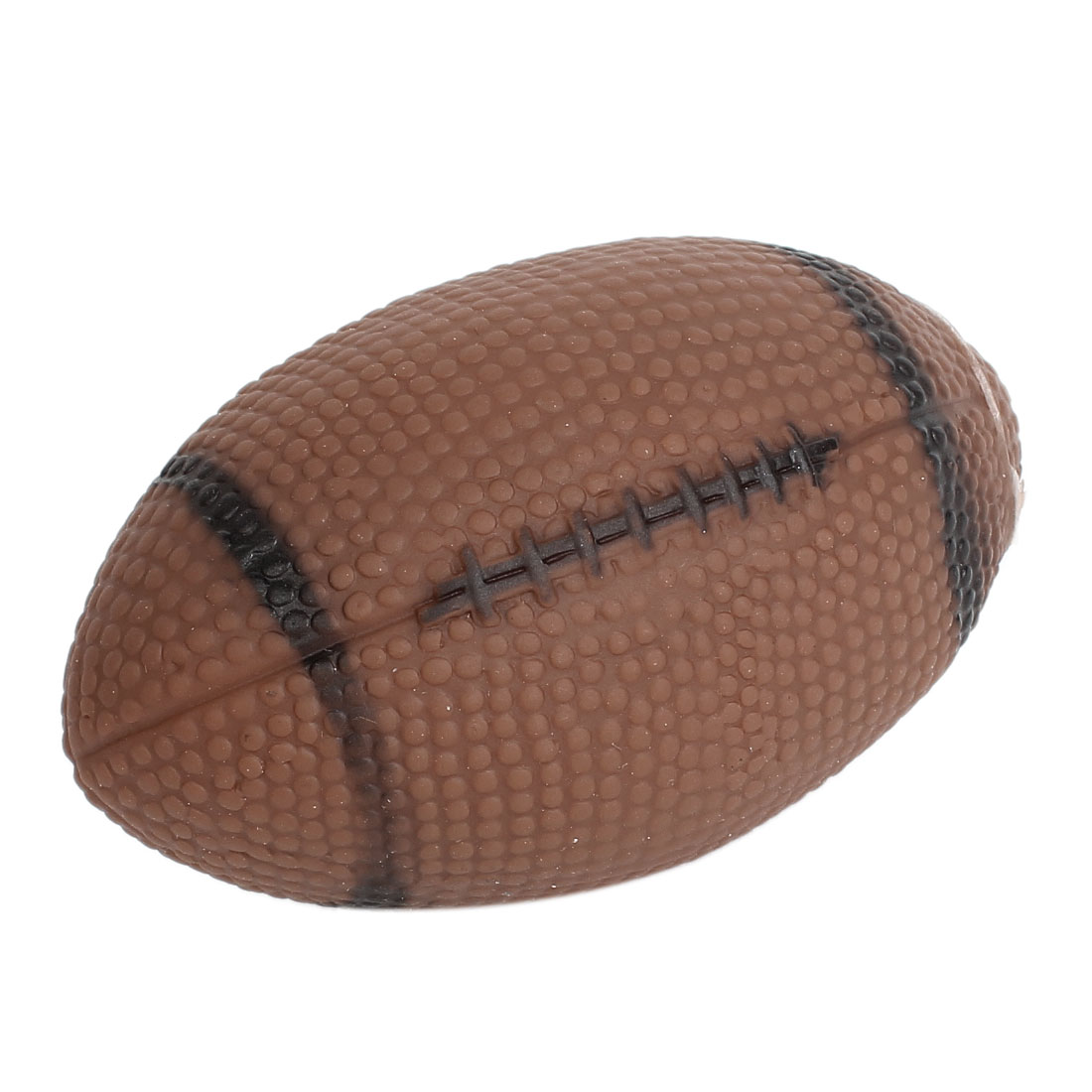 Rugby Ball Design Pet Dog Puppy Playing Soundable Squeeze Chew Toy Chocolate Color