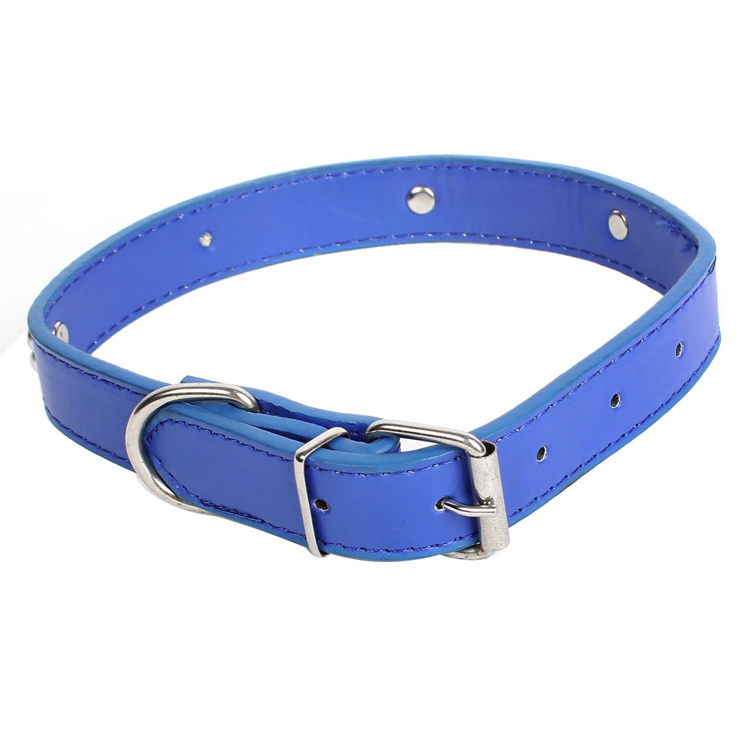 Single Prong Buckle Metal Bone Detail Faux Leather Adjustable Belt Collar Blue for Pet Cat Dog Doggy