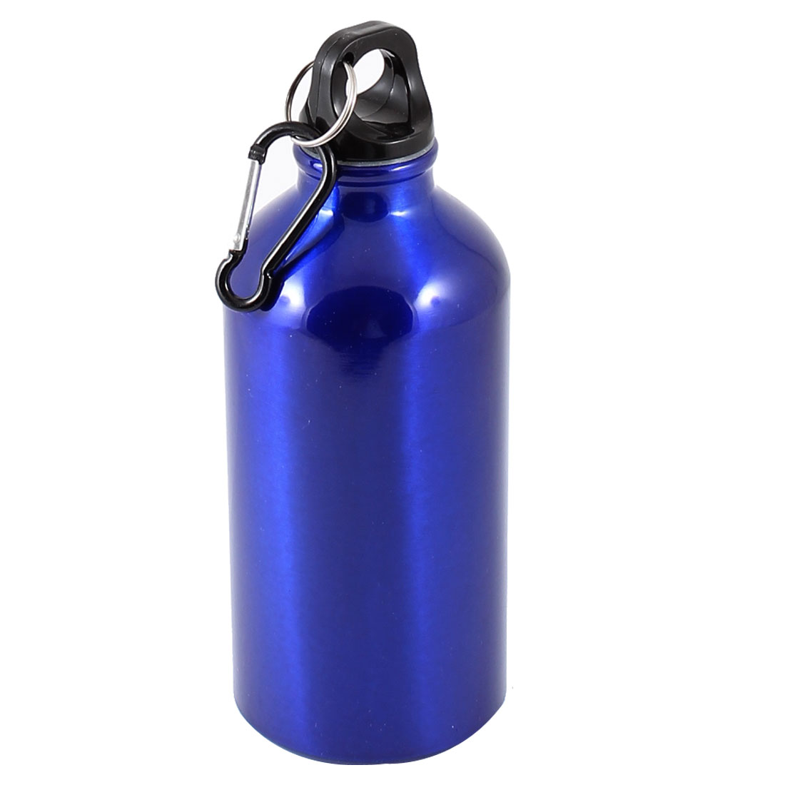 Black Carabiner Hook Blue Aluminium 500ml Vacuum Hot Water Flask Bottle