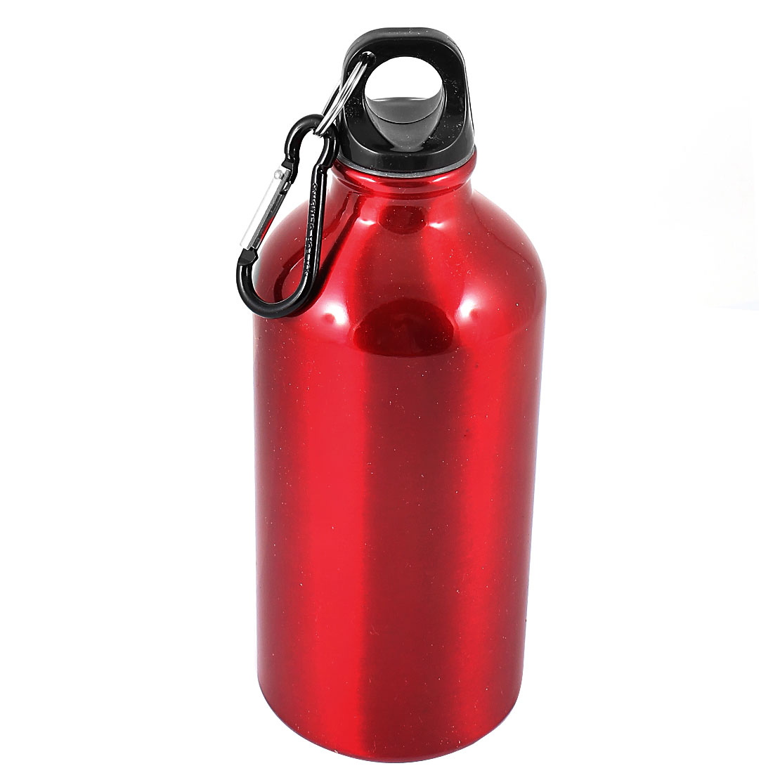 Black Carabiner Hook Red Stainless Steel 500ml Vacuum Water Flask Bottle