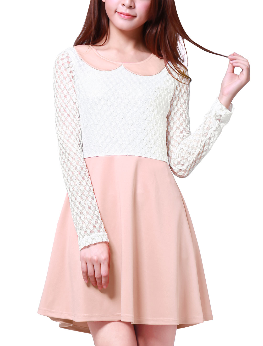 Ladies Contrast Color Doll Collar Above Knee Dress Light Pink S