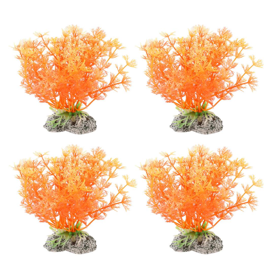 "Aquarium Emulational Grass Plant Ornament 4.3"" Height Orange 4 Pcs"