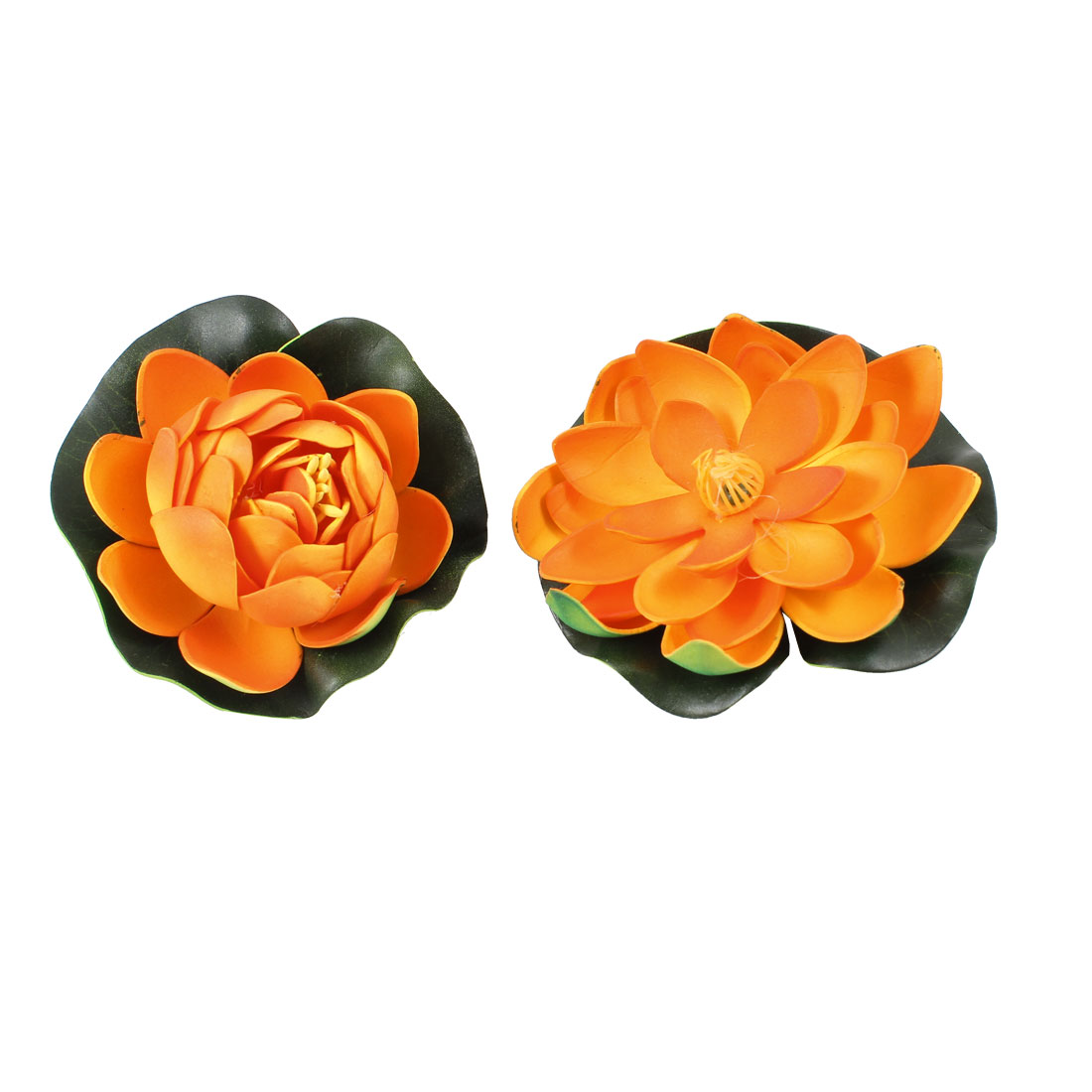 Lotus Shaped Foam Floating Plants Decoration 2 Pcs Orange Green for Aquarium Fish Tank