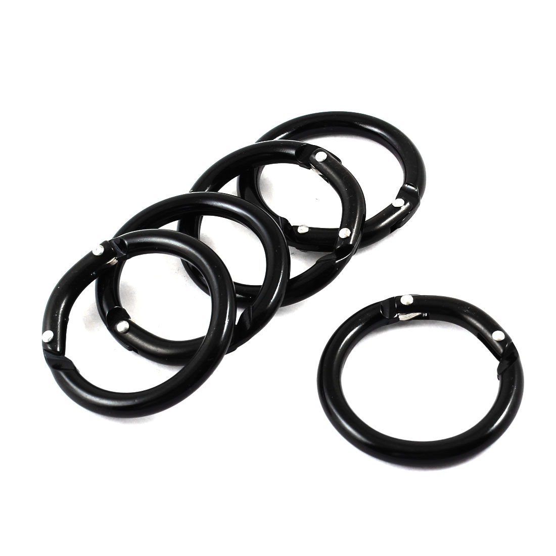 "5 Pcs 1.5"" OD Metal Circle Keyrings Key Holder Ring Keychain Black"