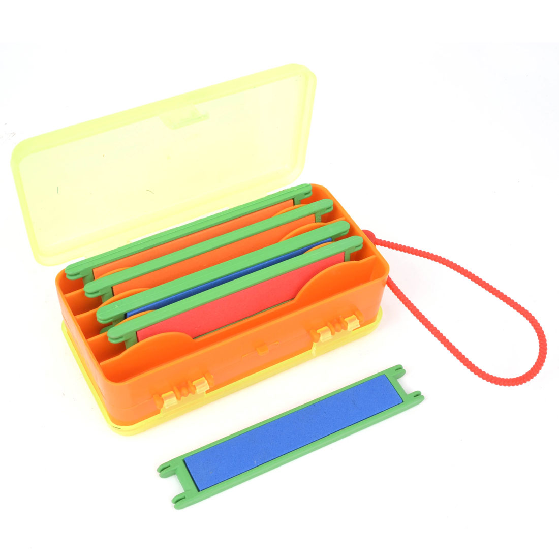 5 Line Spool Winder Tri Colors Line Spools Plastic Double Sides Green Orange Fishing Tackle Box Case