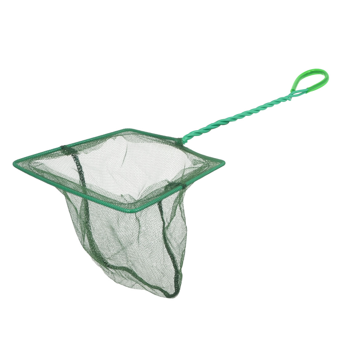 Green Plastic Coated Handle Goldfish Fishing Landing Net for Fish Tank