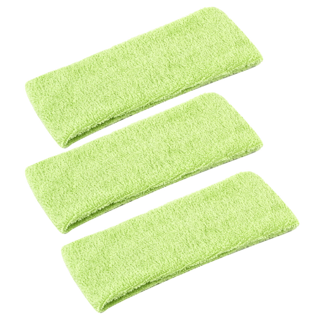 "Sports Terrycloth Soft Sweat Absorbent Protective 2.2"" Width Stretchy Headband Yellow Green 3 Pcs"